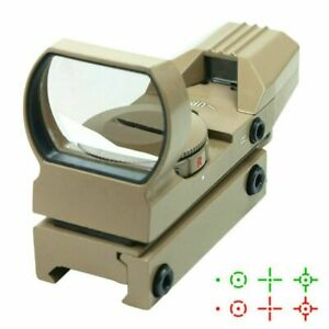Tactical Holographic Reflex Sight Red Green 4 Reticles with Rail Mount Tan