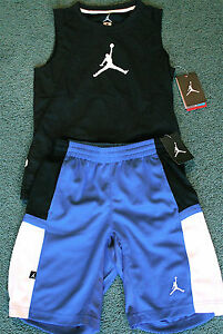 NWT Nike Jordan Boys L BlueBlackWhite Dri-Fit Tank Top Shorts Set Large 14-16