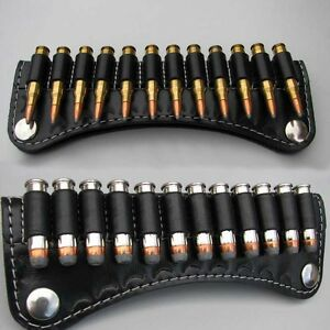 LEATHER AMMO SLIDE POUCH - PRESS STUDS - HOLDS 14 ROUNDS .38 .357 MAG  .44 MAG