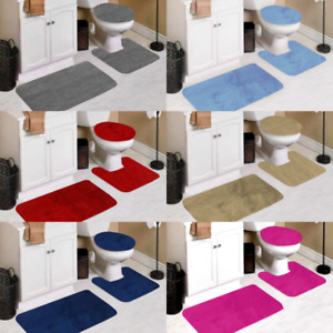 3PC BATHROOM CONTOUR MAT TOILET LID COVER SET SOLID BATHMATS MANY COLOR & STYLES