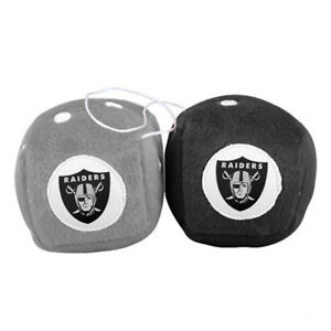 New NFL Oakland Raiders Rear View Mirror Soft Plush Fuzzy Hanging Dice