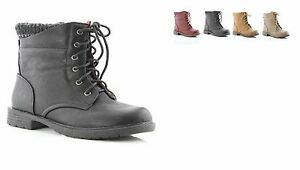 New Youth Girls Low Heel Classic Lace Up Combat Ankle Boots Faux Leather Shoes $19.95