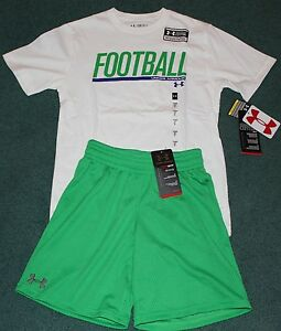 NWT Under Armour S Boys GreenWhite FOOTBALL Heat Gear Shorts Set YSM