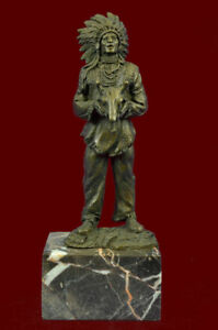 Indian Statue Native American Art Chief Bronze Sculpture Marble Base Decor Gift