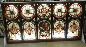 STUNNING OLD ENGLISH LEADED STAINED GLASS CHURCH WINDOW 1850'S 107.75