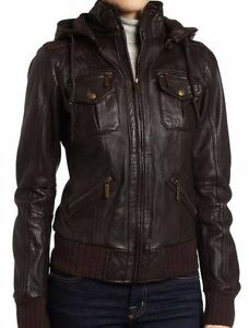 Brown Women's Lambskin Detachable Hoodie Leather Bomber Jacket