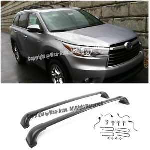 For 14-15 Toyota HighLander LE 2 PCs Black Top Roof Luggage Carrier Cross Bar