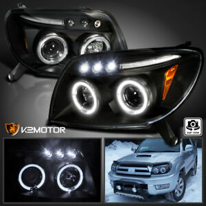 For 2003-2005 Toyota 4Runner Sport LED Dual Halo Projector Headlights Black Pair