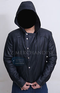 Men's Motorcycle Biker Hooded Black Leather Jacket Hoody - BNWT