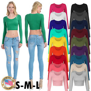 Women#x27;s Long Sleeve Basic Crop Top Round Neck With Stretch USA SML $10.99