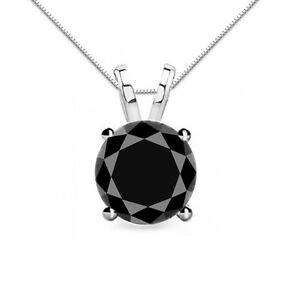4.00 Carat Black Diamond 4 Prong 14K White Gold Solitaire Necklace Box Chain