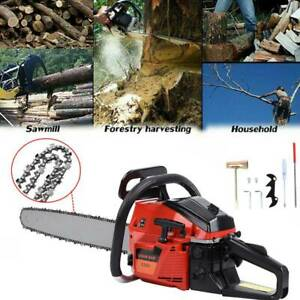 52cc 22quot; Bar Gas Powered Chain Saw 52cc 2 Cycle Tree Chainsaw Wood Cutting $94.05