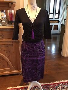 $2640 BREATHTAKING NAEEM KHAN EMBROIDERED SKIRT SZ 14 NWT