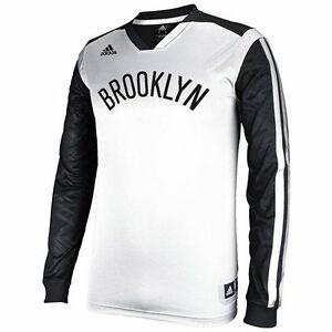 adidas Brooklyn Nets On-Court Shooter Long Sleeve T-Shirt - WhiteBlack - NBA