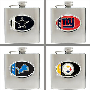 Choose Your NFL Football Team 6oz Stainless Steel Hip Flask by Great American