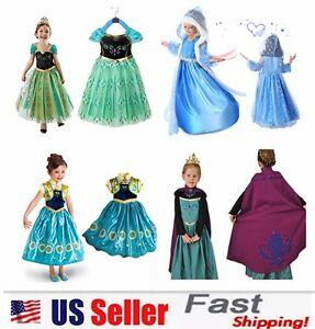 Princess Elsa Anna Role Cosplay Dress up Costume Dress for Girls Toddler 2 10 Y