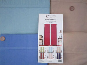 WIndow Panels x2 Newport Cotton Blue Tan Solid Button Over Country Casual 84 NEW