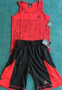 NWT Nike Air Jordan Boys L RedBlack Graphic Print Dri-Fit Shorts Set L 14-16