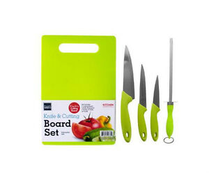 Knife Set With Cutting Board 5 Piece Green