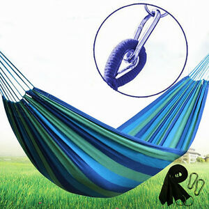 Outdoor Cotton Rope Hammock Hanging Swing Camping Canvas Bed Double Single USA
