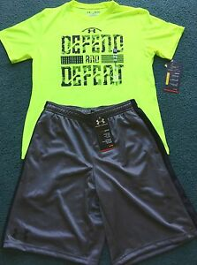 NWT Under Armour L Boys Neon YellowGrayBlack FOOTBALL Heat Gear Shorts Set YLG