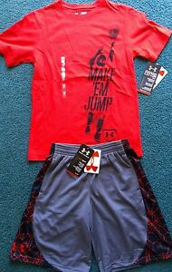 NWT Under Armour L Boys BLACK WIDOW RedBlackGray MAKE EM JUMP Shorts Set YLG