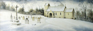 ORIGINAL PAINTING Yorkshire England Church Chapel Cemetary Snow by Randy Souders $1950.00