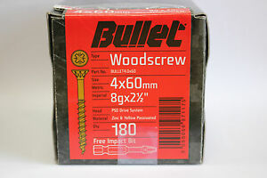 BULLET SCREWS woodscrews steel self countersinking wood FREE Impact Bit