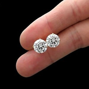 8Ct Created Diamond Earrings Solid 14K Yellow Gold Basket Round 10mm Solitaire