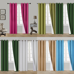 2PC HEAVY THICK SOLID GROMMET PANEL WINDOW CURTAIN DRAPES BLACKOUT FLOCKING K34 $15.30