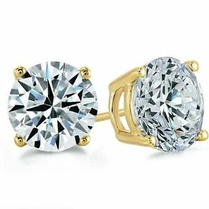 3Ct. Round Cut Created Diamond Earrings 14K Yellow Gold Studs Briliant Solitaire