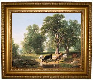 Durand A Summer Afternoon 1849 -Gold Framed Canvas Print Repro 22x26