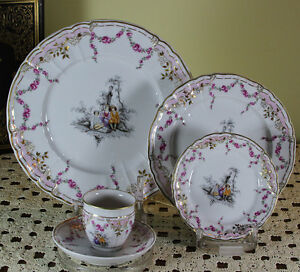 Limited Edition 120 Hand-Painted 5-piece Place-Setting  after Watteau