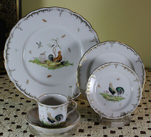 Limited Edition 130 Hand-Painted 5-piece Place-Setting  Poultry Landscape
