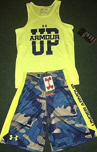 NWT Under Armour S Boys Neon YellowBlue Camouflage ARMOUR UP Shorts Set YSM