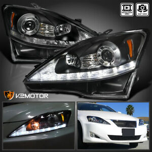 For 2006 2009 Lexus IS250 IS350 Black LED Signal Strip Projector Headlights Pair $351.38