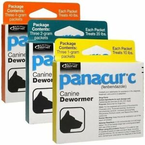 Panacur C Canine Dewormer Fenbendazole Control of parasites on Dogs 3 Packets $18.96