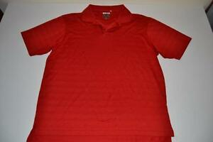 ADIDAS GOLF RED STRIPED DRY FIT POLO SHIRT MENS SIZE LARGE L