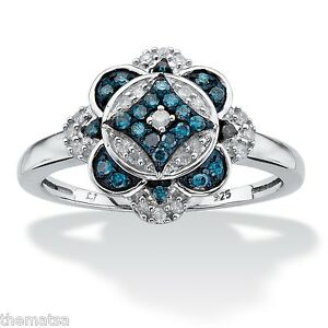 PLATNIUM OVER STERLING SILVER BLUE AND WHITE DIAMOND FLORAL RING SIZE 6 7 8 9 10