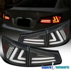 For 06-08 Lexus IS250 IS350 LED Tail Lights Rear Brake Lamps Black Replacement