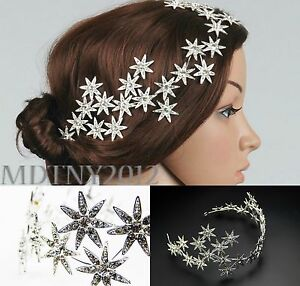 New Jewelry Crystal Stars Chain Headband Wedding Prom Crown Tiara Hair Accessory $10.26