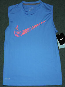 NWT Nike Boys YXL Light BlueNeon Orange BIG SWOOSH Dri-Fit Tank Top Shirt XL
