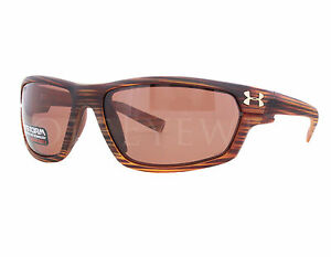 NEW Under Armour Hook'd Storm Satin Wood Polarized 8630078-192128 Sunglasses
