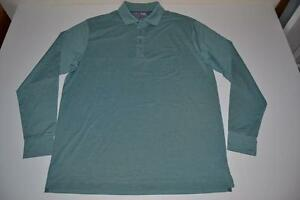 MATTE GREY GOLF GREEN LONG SLEEVE DRY FIT POLO SHIRT MENS SIZE LARGE L NEW