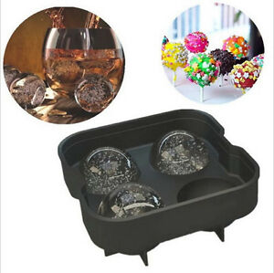 NEW Round Ice Balls Maker Tray 4 Large Sphere Molds Cube Whiskey Cocktails Party