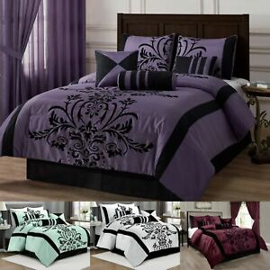 Chezmoi Collection 7 piece Flocked Floral Faux Silk Comforter Set or Curtain Set $63.99