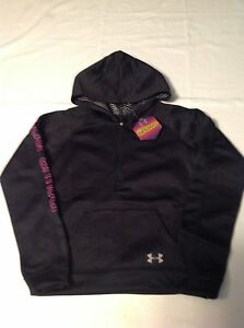 Girls Youth Under Armour ColdGear Infrared Pullover 12 Zip Hoodie Black NWT $50