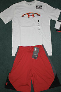 NWT Boys Under Armour S RedWhiteOrange FOOTBALL Shorts Set YSM