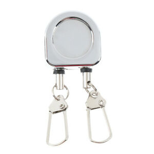 Fly Fishing Tool Zinger Retractor Tool Pin on clip Steel Cord 38cm Silver