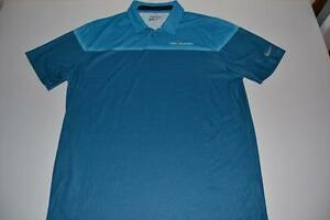 NIKE TOUR GOLF THE PLAYERS TPC BLUE STRIPED DRY FIT POLO SHIRT MENS SIZE LARGE L
